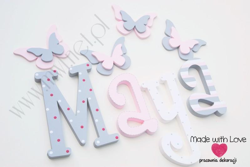 Literki imię dziecka na ścianę do pokoju - 3d 30 cm - wzór MWL16 maya