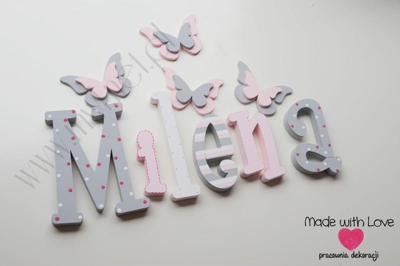 Literki imię dziecka na ścianę do pokoju - 3d 30 cm - wzór MWL16 milena milenka