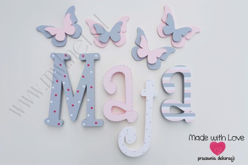 Literki imię dziecka na ścianę do pokoju - 3d 30 cm - wzór MWL16 maja majka