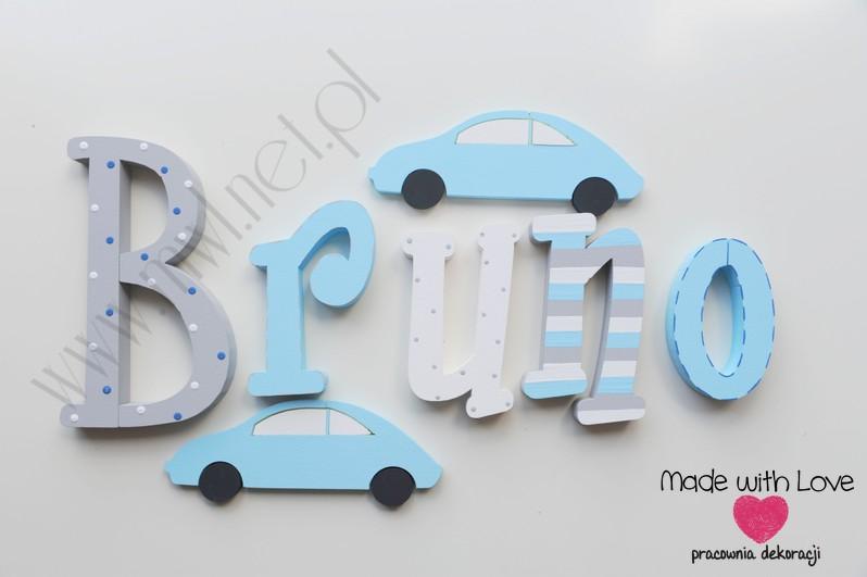 Literki imię dziecka na ścianę do pokoju - 3d - wzór MWL3 Bruno brunio natan
