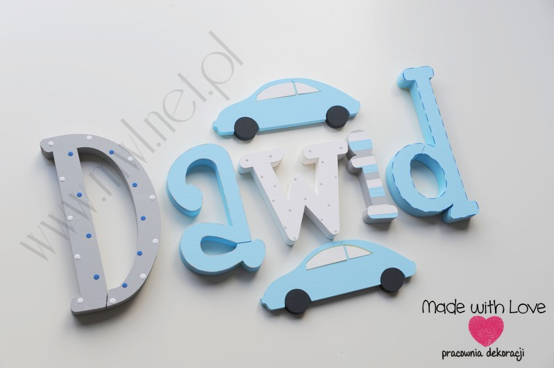 Literki imię dziecka na ścianę do pokoju - 3d - wzór MWL3 dawid natan