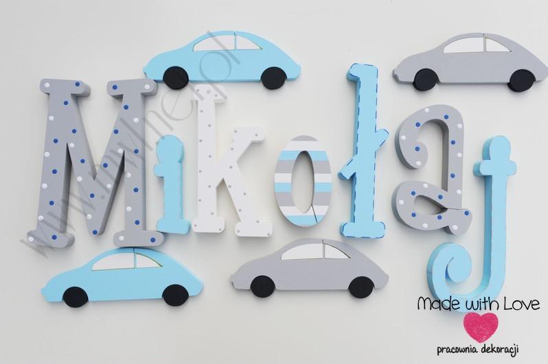 Literki imię dziecka na ścianę do pokoju - 3d - wzór MWL3 mikołaj miki mikuś natan