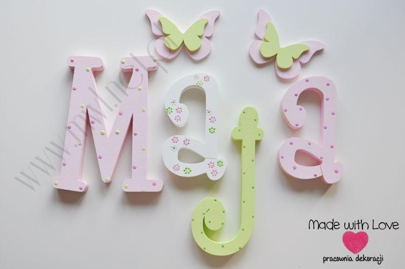 Literki imię dziecka na ścianę do pokoju - 3d - wzór MWL38 maja majka maja