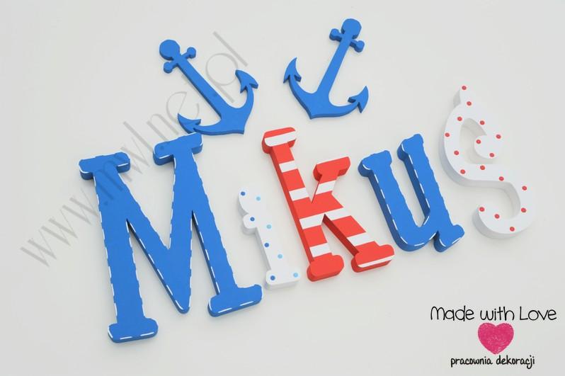 Literki imię dziecka na ścianę do pokoju - 3d 30 cm - wzór MWL23 miki mikołaj mikuś marine marynistyczny morski