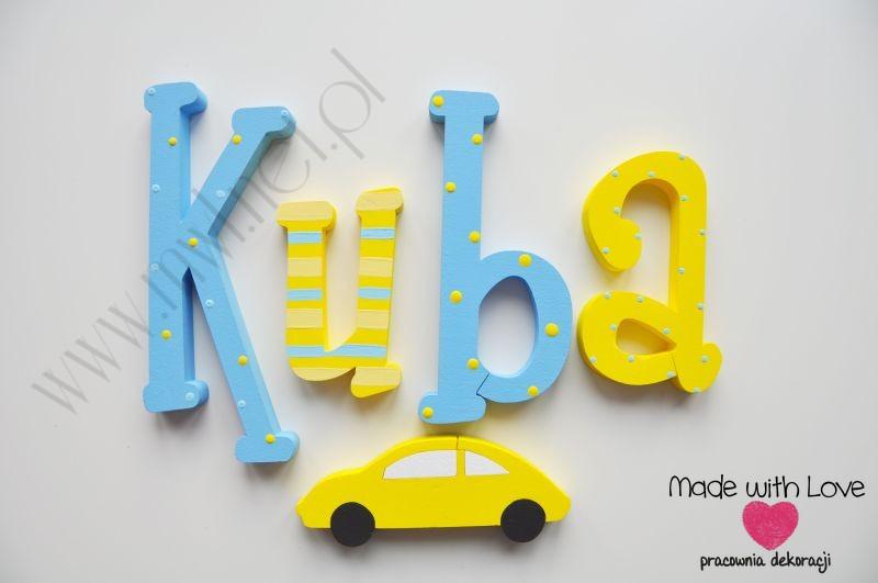 Literki imię dziecka na ścianę do pokoju - 3d 30 cm - wzór MWL24 kuba jakub kubuś żółty niebieski