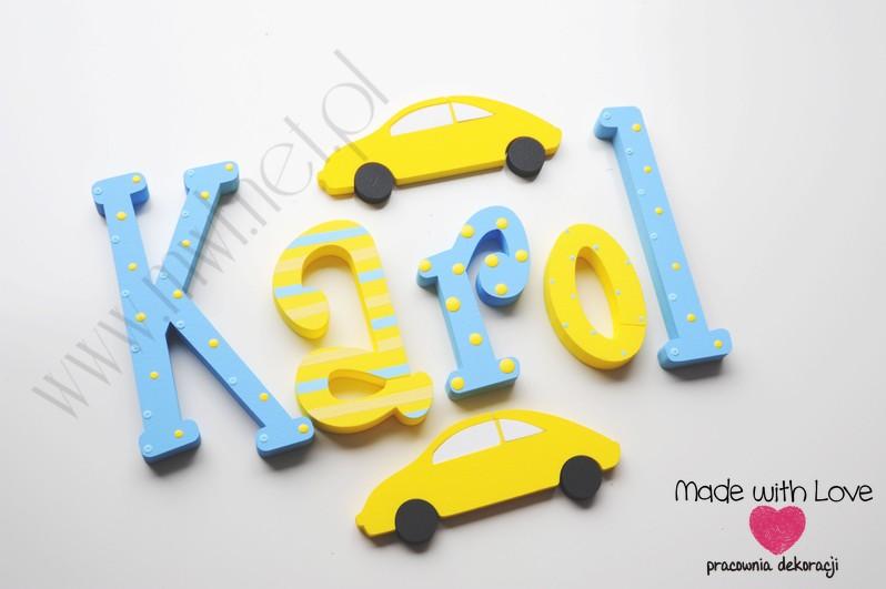 Literki imię dziecka na ścianę do pokoju - 3d 30 cm - wzór MWL24 karol karolek żółty niebieski