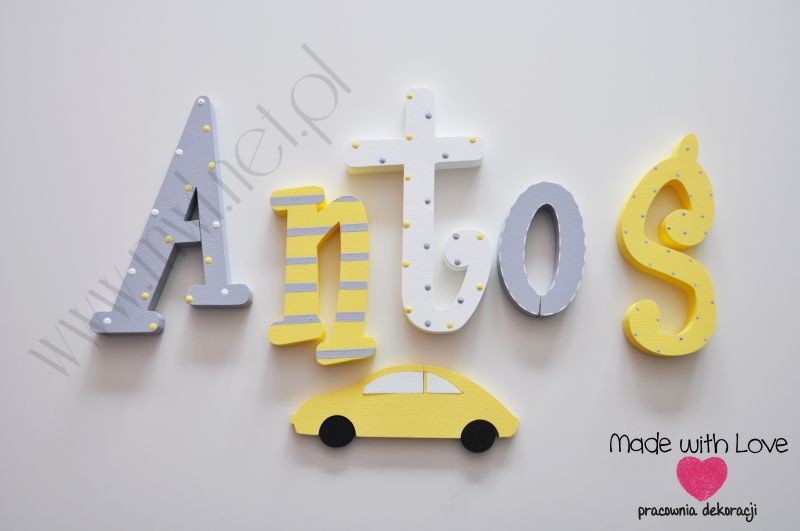 Literki imię dziecka na ścianę do pokoju - 3d 30 cm- wzór MWL29 antoś antoni antek żółty szary