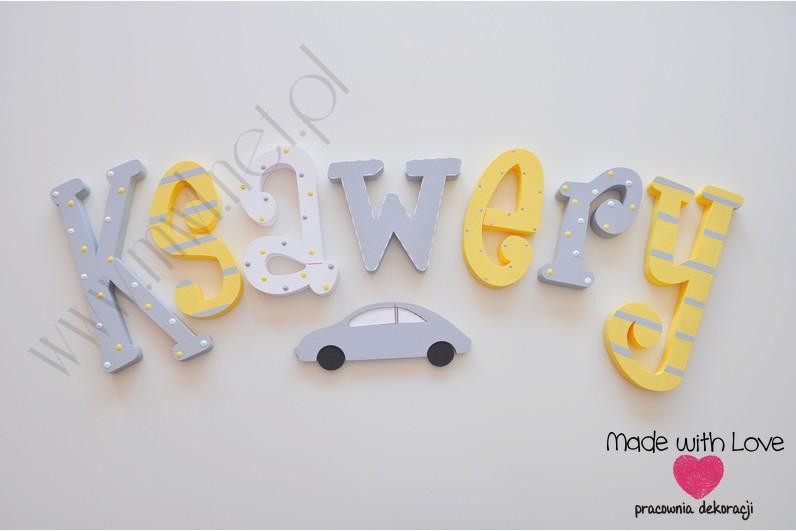Literki imię dziecka na ścianę do pokoju - 3d 30 cm- wzór MWL29 ksawery ksawuś ksawi żółty szary