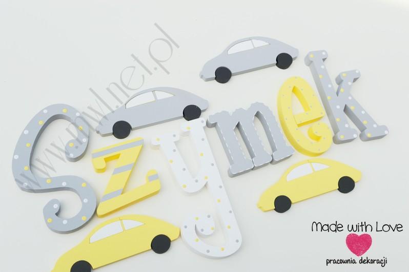 Literki imię dziecka na ścianę do pokoju - 3d 30 cm- wzór MWL29 szymek szymon szymonek żółty szary