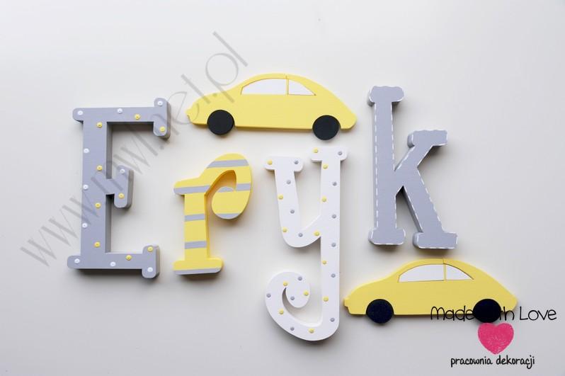 Literki imię dziecka na ścianę do pokoju - 3d 30 cm- wzór MWL29 eryk żółty szary