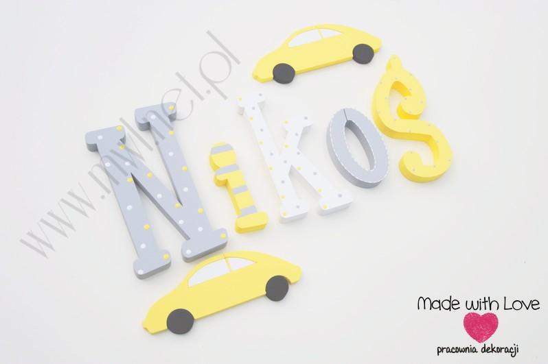 Literki imię dziecka na ścianę do pokoju - 3d 30 cm- wzór MWL29 nikodem nikoś żółty szary