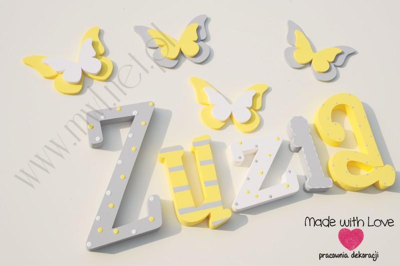 Literki imię dziecka na ścianę do pokoju - 3d 30 cm- wzór MWL29 zuzia zuza zuzka zuzanna żółty szary