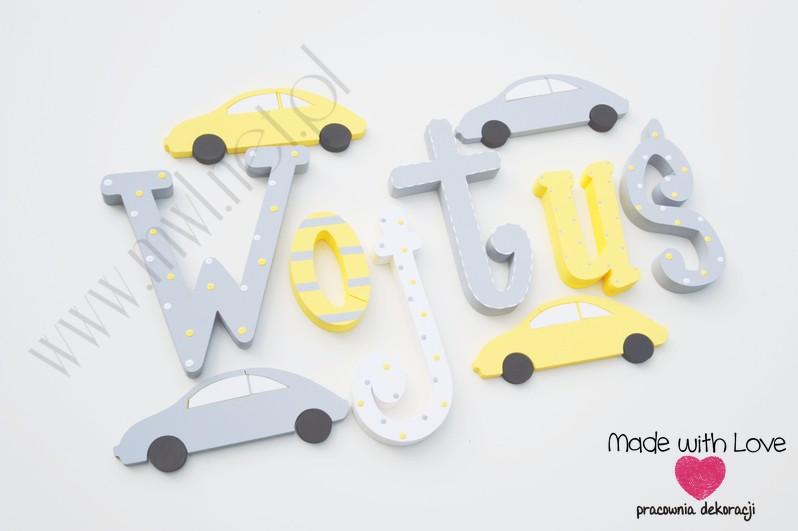 Literki imię dziecka na ścianę do pokoju - 3d 30 cm- wzór MWL29 wojtek wojtuś wojciech żółty szary