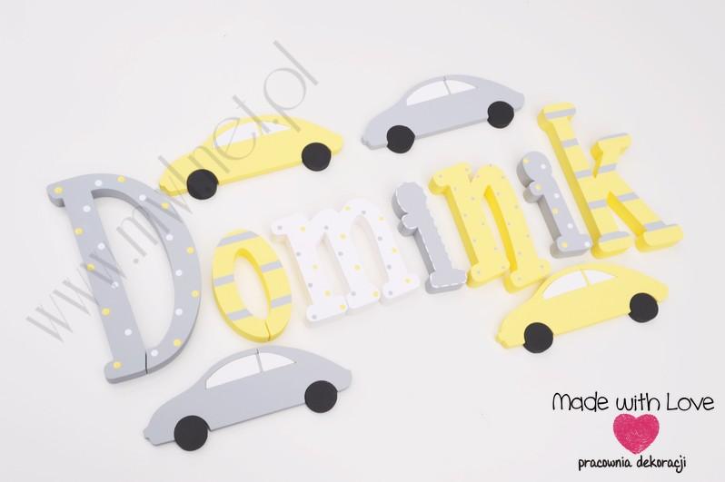 Literki imię dziecka na ścianę do pokoju - 3d 30 cm- wzór MWL29 dominik domi domiś żółty szary
