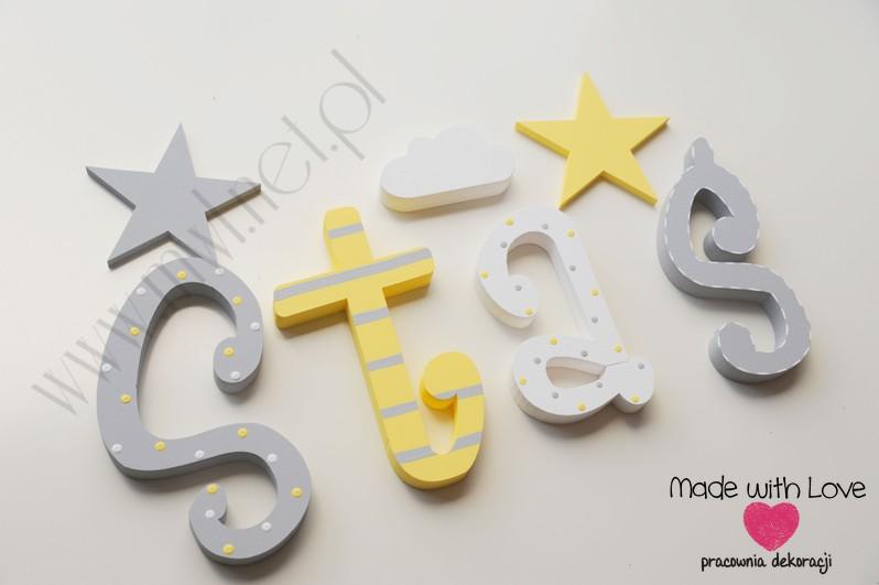 Literki imię dziecka na ścianę do pokoju - 3d 30 cm- wzór MWL29 staś stanisław stasiu stasiek staszek żółty szary