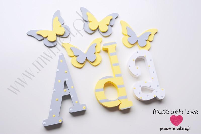 Literki imię dziecka na ścianę do pokoju - 3d 30 cm- wzór MWL29 ada adriana adrianka adusia żółty szary