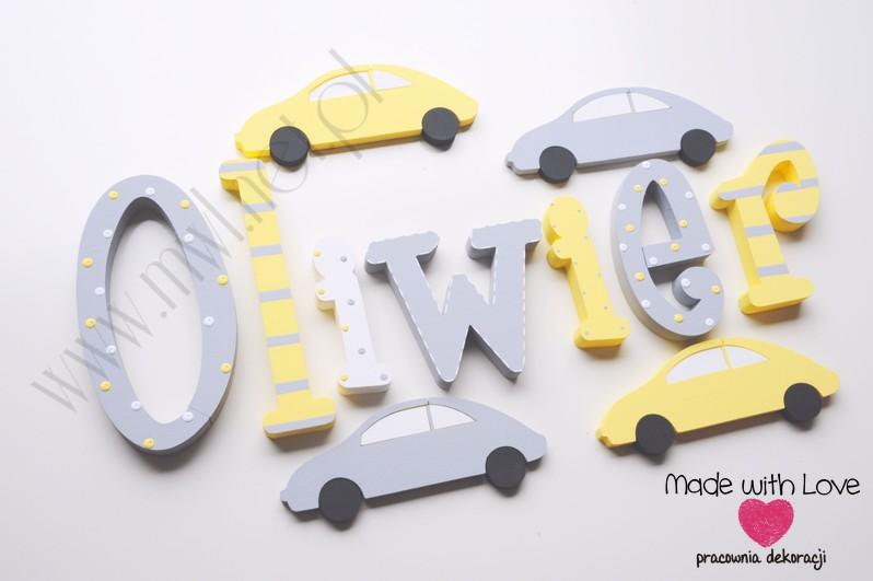 Literki imię dziecka na ścianę do pokoju - 3d 30 cm- wzór MWL29 oli oliwier olek żółty szary