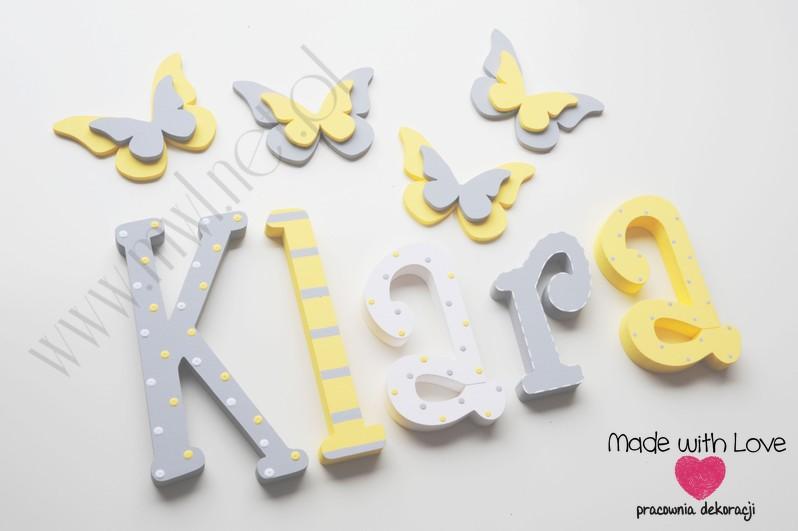Literki imię dziecka na ścianę do pokoju - 3d 30 cm- wzór MWL29 klara klarcia żółty szary