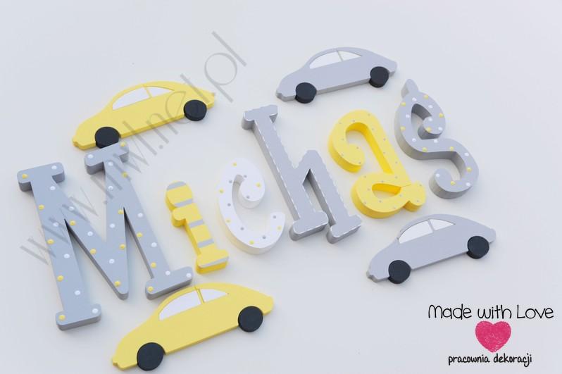 Literki imię dziecka na ścianę do pokoju - 3d 30 cm- wzór MWL29 michaś michał michałek żółty szary