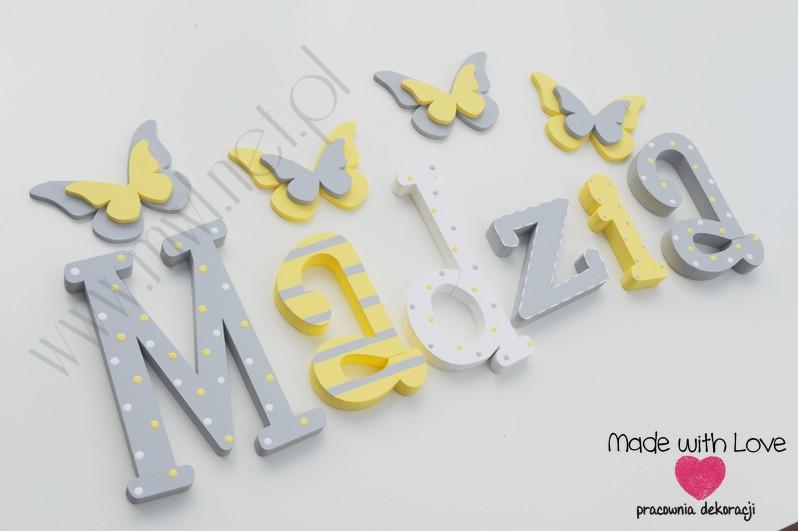 Literki imię dziecka na ścianę do pokoju - 3d 30 cm- wzór MWL29 madzia magda magdalena żółty szary