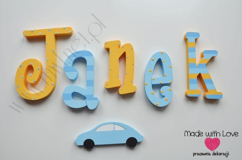 Literki imię dziecka na ścianę do pokoju - 3d - wzór MWL39 janek jaś jan pomarańczowy niebieski
