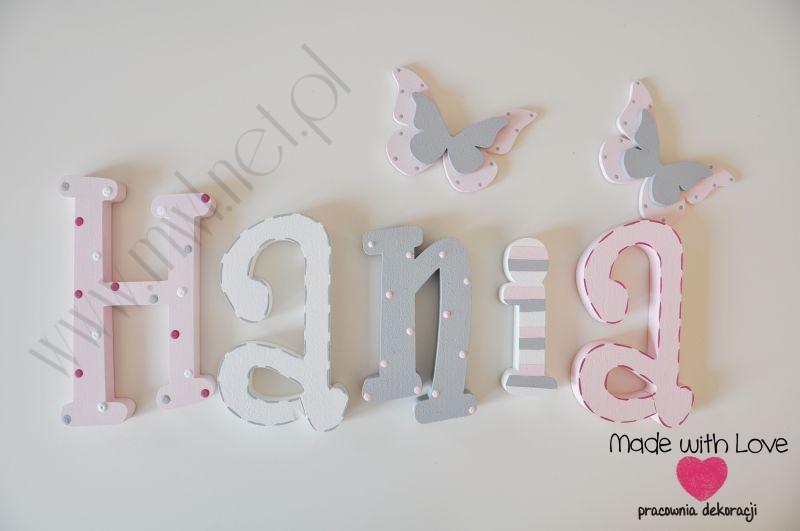 Literki imię dziecka na ścianę do pokoju - 3d 30 cm - wzór MWL42 hania hanka haneczka pastele róż szary