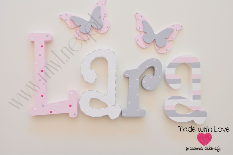 Literki imię dziecka na ścianę do pokoju - 3d 30 cm - wzór MWL42 lara pastele róż szary