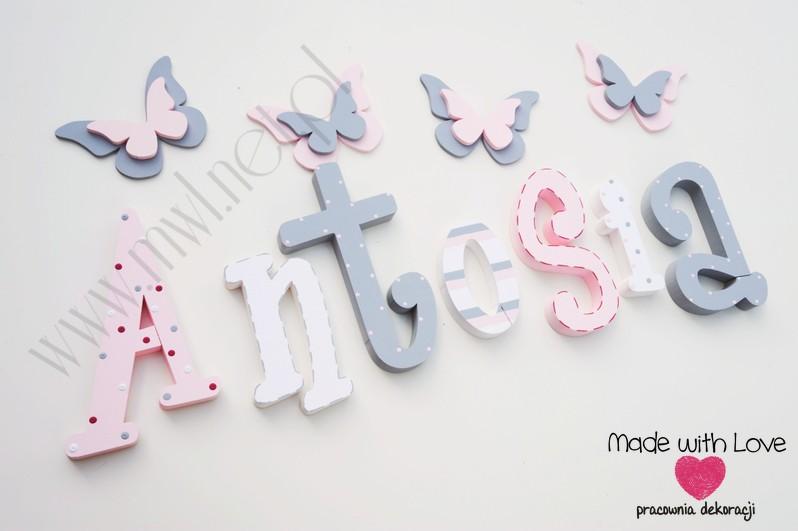 Literki imię dziecka na ścianę do pokoju - 3d 30 cm - wzór MWL42 antosia antonina tosia tośka pastele róż szary