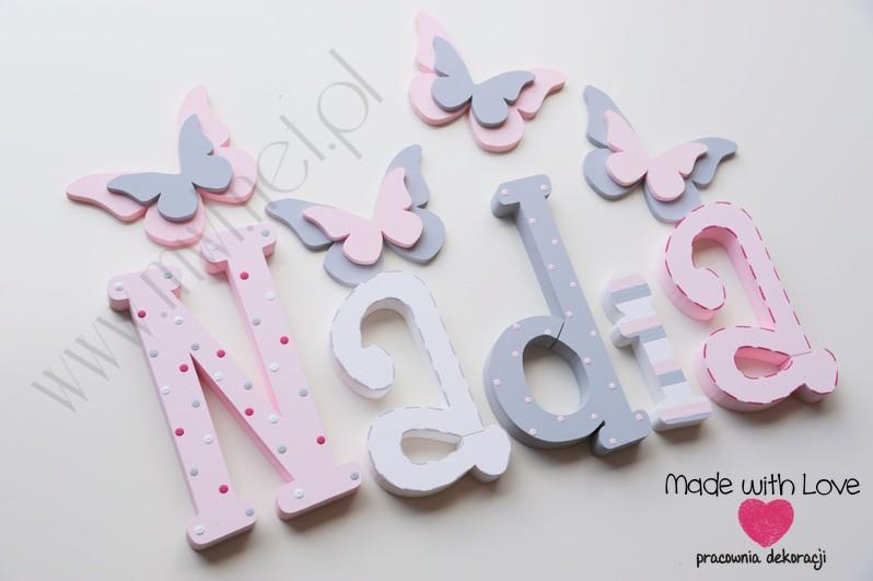 Literki imię dziecka na ścianę do pokoju - 3d 30 cm - wzór MWL42 nadia nadka nadusia nadunia pastele róż szary