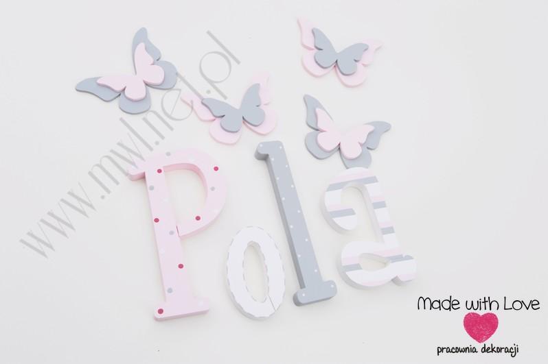 Literki imię dziecka na ścianę do pokoju - 3d 30 cm - wzór MWL42 pola polcia apolonia pastele róż szary