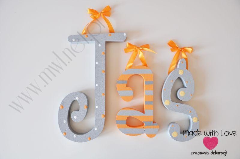 Literki imię dziecka na ścianę do pokoju - 3d 30 cm - wzór MWL45