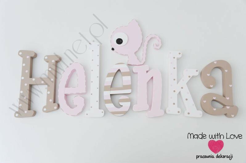 Literki imię dziecka na ścianę do pokoju - 3d 25 cm  - wzór MWL125 helena hela helenka