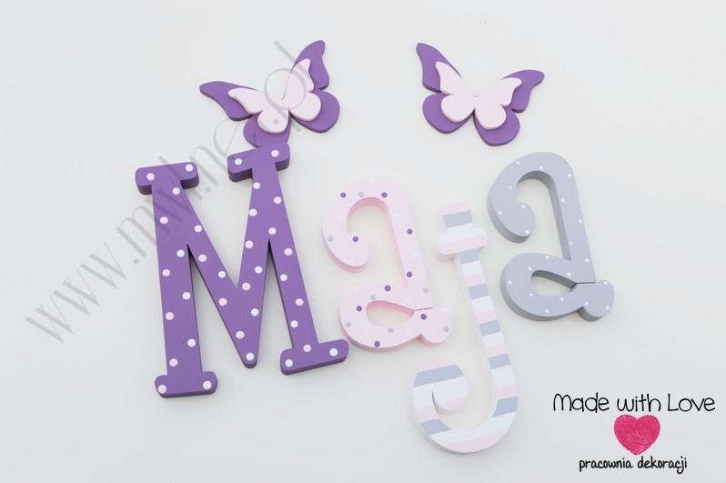 Literki imię dziecka na ścianę do pokoju - 3d - wzór MWL126 maja majka majunia marysia