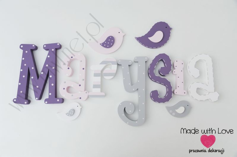 Literki imię dziecka na ścianę do pokoju - 3d 30 cm - wzór MWL126 marysia maria maryśka