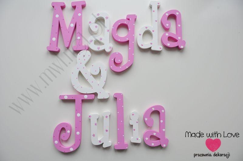 Literki imię dziecka na ścianę do pokoju - 3d - wzór MWL41 magda julia róż różowy