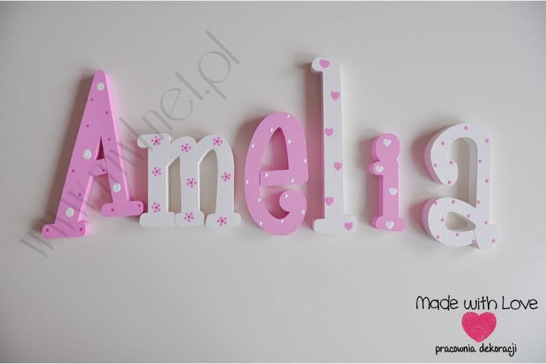Literki imię dziecka na ścianę do pokoju - 3d - wzór MWL41 amelia amelka amelcia róż różowy