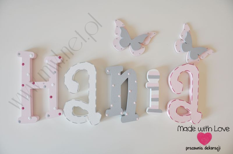 Literki imię dziecka na ścianę do pokoju - 3d - wzór MWL42 hania hanka haneczka pastele róż szary