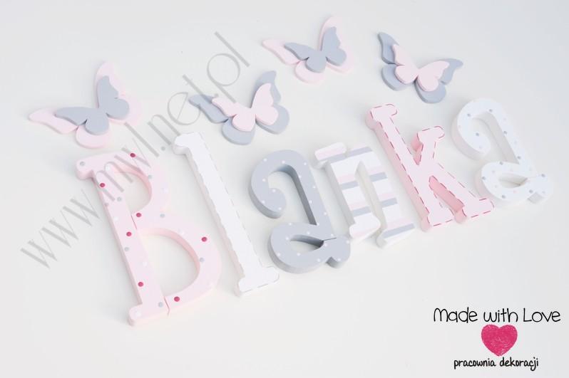 Literki imię dziecka na ścianę do pokoju - 3d - wzór MWL42 blanka blanusia blania pastele róż szary