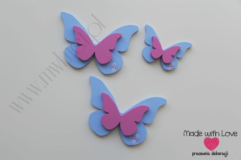 Dekoracja ścienna - motylki - zestaw