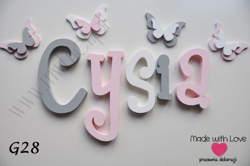 Literki imię dziecka na ścianę do pokoju - 3d gładkie - dowolna kolorystyka cysia cysia