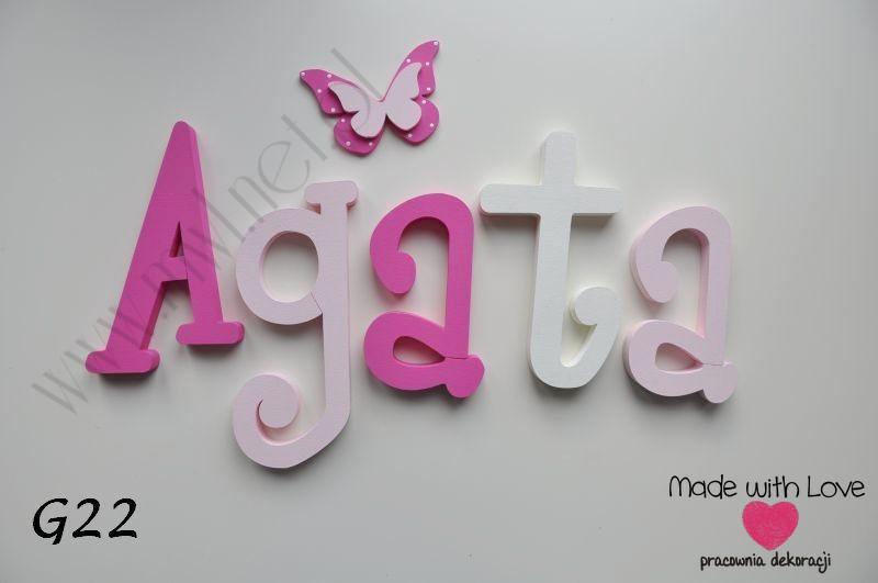 Literki imię dziecka na ścianę do pokoju - 3d gładkie - dowolna kolorystyka cysia