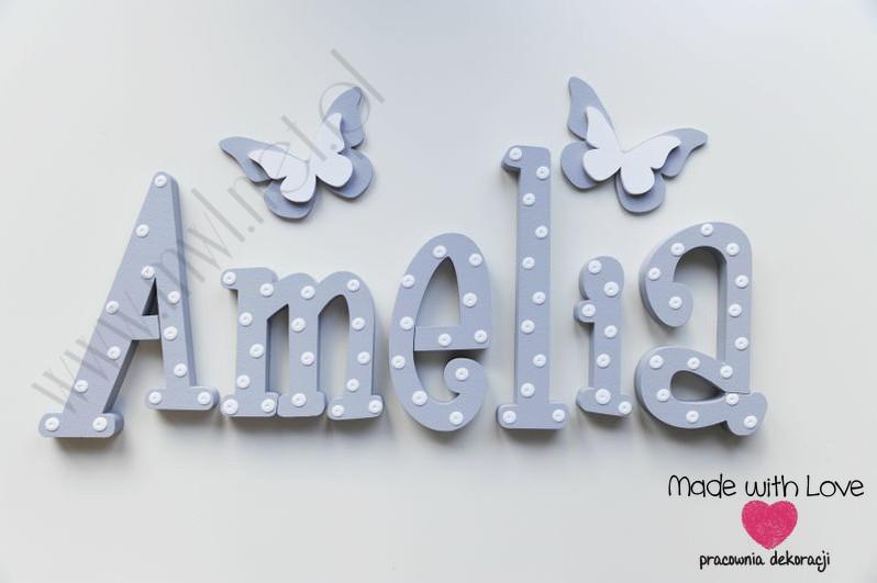 Literki imię dziecka na ścianę do pokoju - 3d - wzór MWL127 amelia amelia