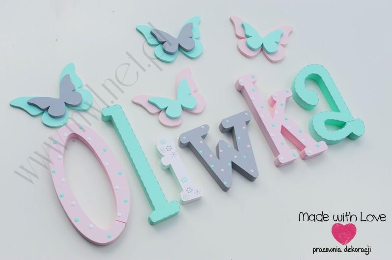 Literki imię dziecka na ścianę do pokoju - 3d - wzór MWL128 oliwia oliwka oliwcia hania pastele