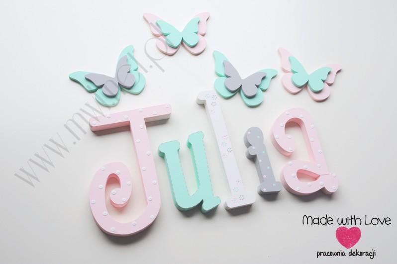 Literki imię dziecka na ścianę do pokoju - 3d - wzór MWL128 julka julia julcia hania pastele