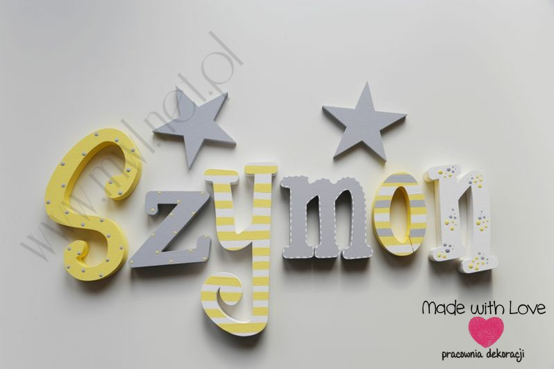 Literki imię dziecka na ścianę do pokoju - 3d - wzór MWL122 szymon szymek szymuś szymonek