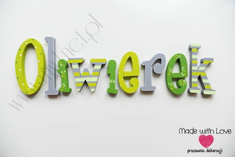 Literki imię dziecka na ścianę do pokoju - 3d - wzór MWL123 oliwerek oliwerek