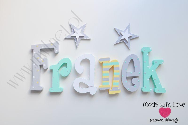 Literki imię dziecka na ścianę do pokoju - 3d - wzór MWL124 franek franio franciszek franuś franek