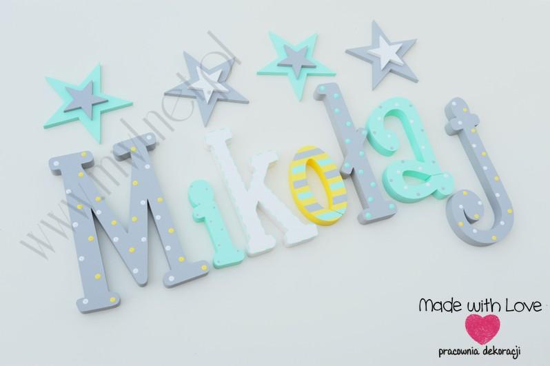 Literki imię dziecka na ścianę do pokoju - 3d - wzór MWL124 miki mikołaj mikuś franek