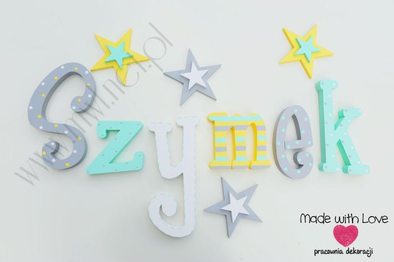 Literki imię dziecka na ścianę do pokoju - 3d - wzór MWL124 szymek szymon szymuś szymonek franek
