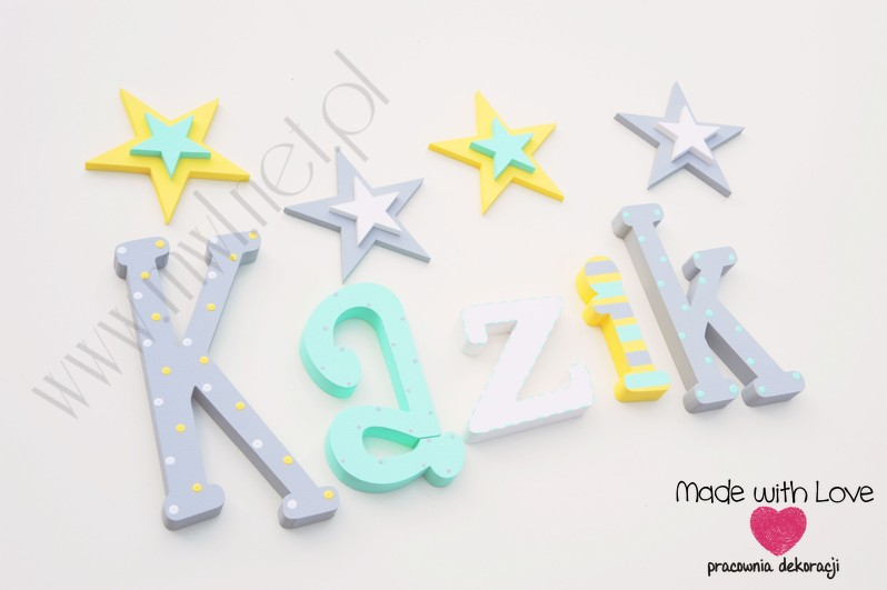 Literki imię dziecka na ścianę do pokoju - 3d - wzór MWL124 kazimierz kaziu kazik franek